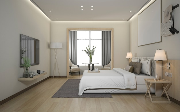 Suite de quarto moderna mínima luxuosa da rendição 3d no hotel