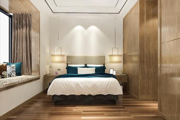 Suíte luxuosa com quarto moderno em hotel com guarda-roupa