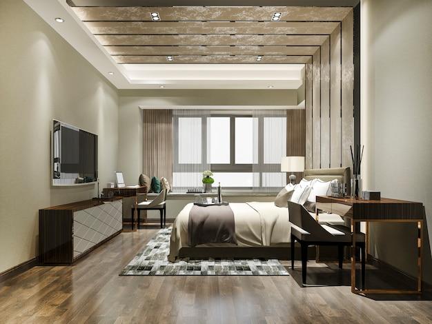 Suíte luxuosa em hotel resort com mesa de trabalho