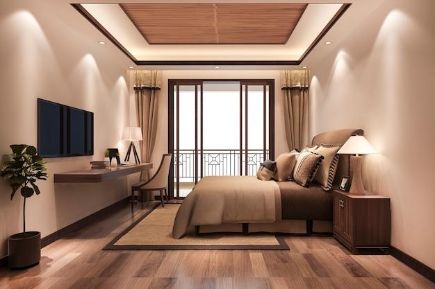 Suíte minimalista de luxo estilo asiático em hotel com tv