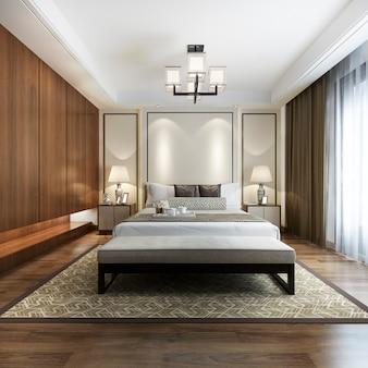 Suíte moderna chinesa de luxo no hotel com guarda-roupa