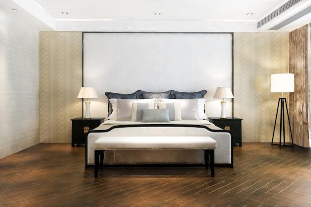 Suíte vintage minimalista com renderização em 3d em hotel com tv