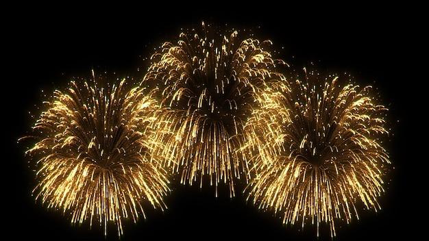 Sumário 3d. animação realista de fogo de artifício colorido.
