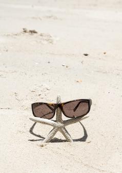 Sunglesses e estrelas do mar na praia de areia