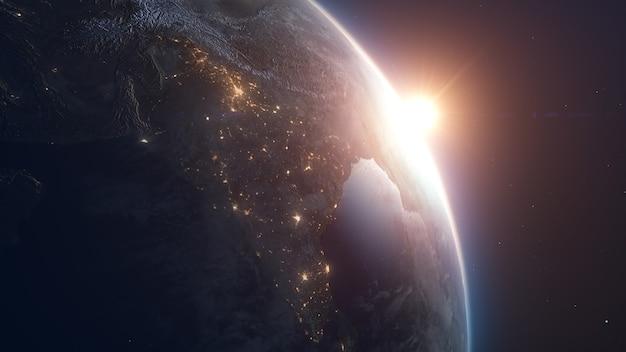 Sunrise over earth terra realista com luzes noturnas do espaço