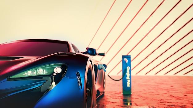 Super carro de energia elétrica. renderização 3d e nutrição.