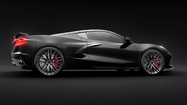 Super carro esportivo em um fundo preto ... ilustração 3d.