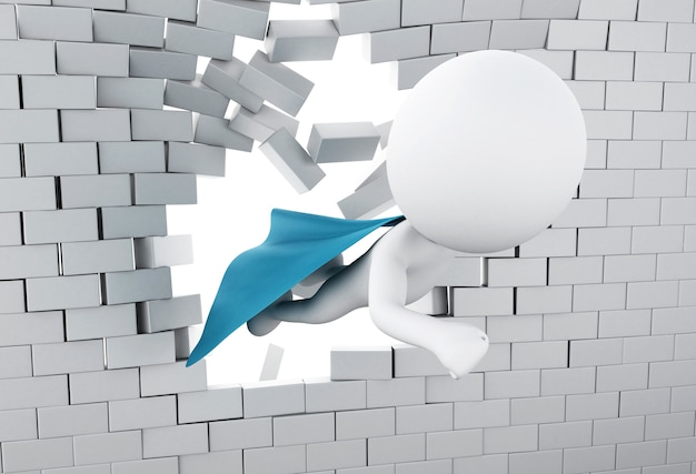 Super herói 3d voando através da parede de tijolos quebrados