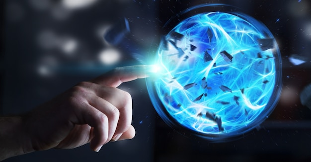 Super-herói criando uma bola de poder com a mão