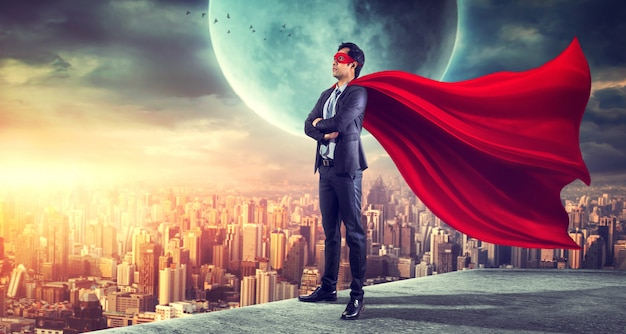 Super-herói de negócios. mídia mista