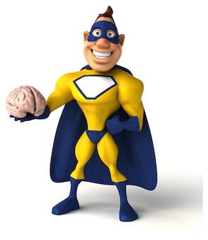 Super-herói divertido segurando um cérebro