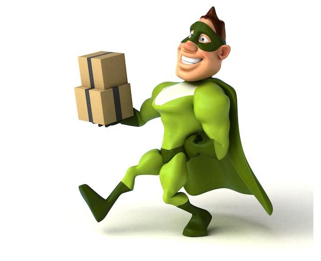 Super-herói divertido segurando um monte de caixas