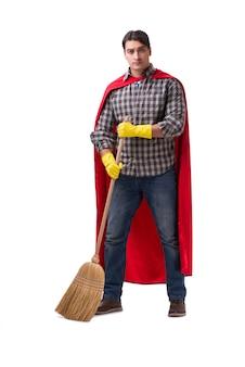 Super herói limpador isolado no branco