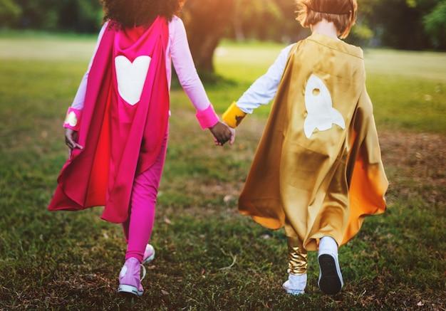 Super-heróis, crianças, com, superpowers