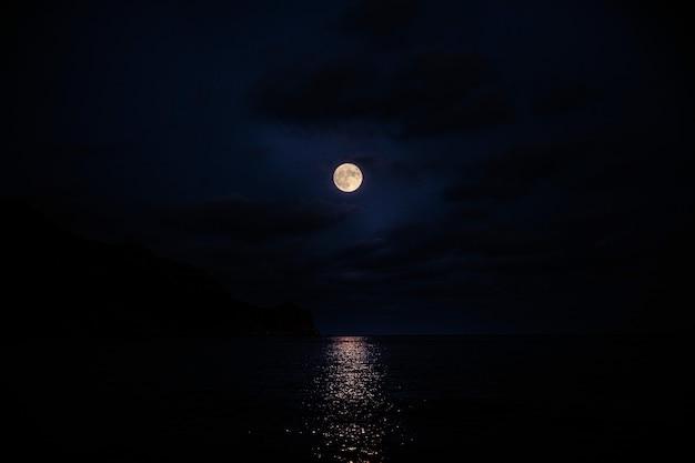 Super lua cheia na água, fundo da natureza