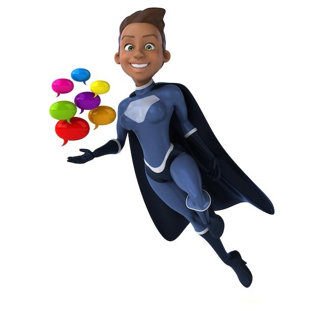 Super mulher segurando balões de fala coloridos