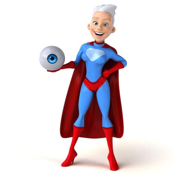 Super mulher segurando um globo ocular