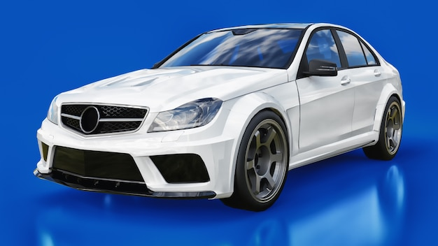 Super rápido carro esporte branco sobre um fundo azul. sedan com forma do corpo. tuning é uma versão de um carro familiar comum. renderização em 3d.