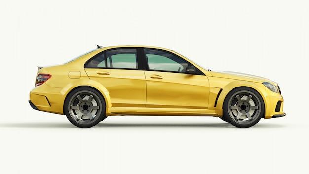 Super rápido esportivo carro cor ouro metálico em branco