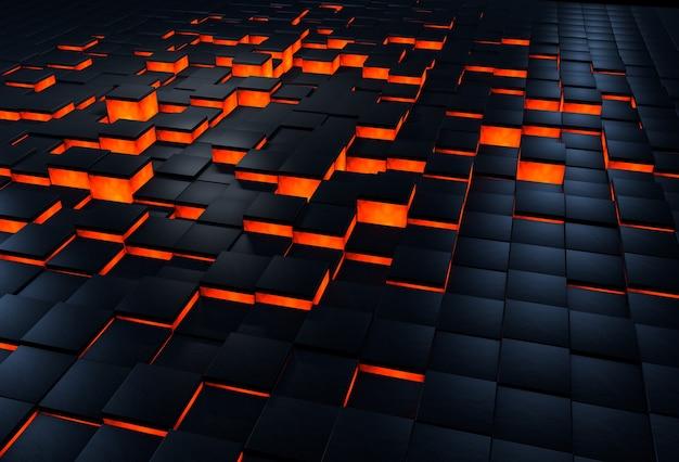 Superfície 3d abstrata feita de blocos pretos com lava passando por baixo deles