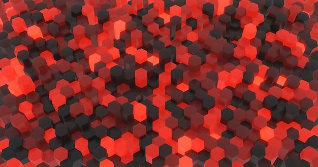Superfície abstrata de hexágonos pretos e vermelhos iluminados aleatoriamente com diferentes alturas