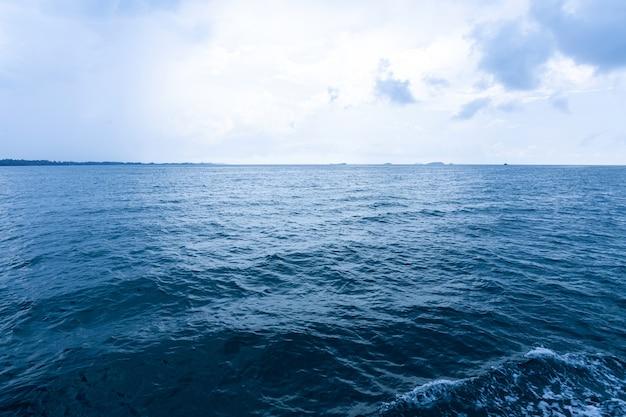 Superfície azul do oceano com céu.