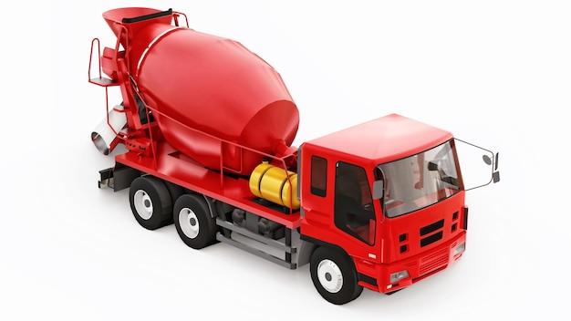 Superfície branca do caminhão betoneira vermelha