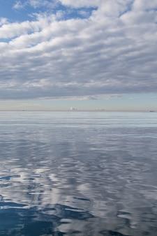 Superfície da água refletindo o céu nublado