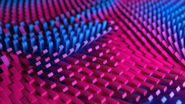Superfície de caixas com ondas coloridas de padrão abstrato