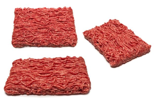 Superfície de carne picada de carne crua. vista do topo. Foto Premium