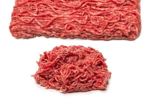 Superfície de carne picada de carne crua. vista do topo.