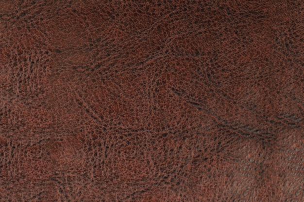 Superfície de couro marrom. plano de fundo texturizado natural.