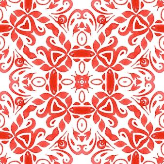 Superfície de design da telha de aquarela vermelha handdrawn padrão geométrico sem emenda. ladrilhos cerâmicos decorativos com folhas e enfeites