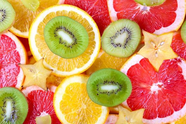 Superfície de frutas fatiadas