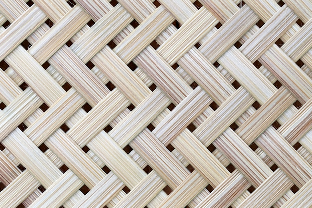 Superfície de madeira do bambu de vime do teste padrão em feito a mão.