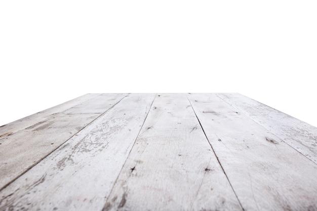 Superfície de mesa de madeira isolada em fundo branco para exposição de produtos de montagem