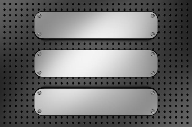 Superfície de metal com parafusos e orifícios