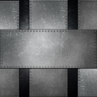 Superfície de metal com parafusos