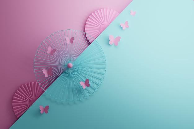 Superfície de modelo romântico simples com formas circulares e borboletas rosa nas cores rosa e azul