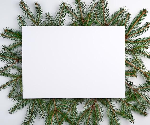 Superfície de natal de felicitações com um lençol branco vazio e galhos verdes