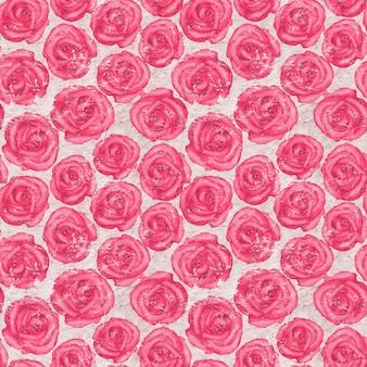 Superfície de papel velha com aquarela sem costura desenhada à mão padrão de rosas cor de rosa