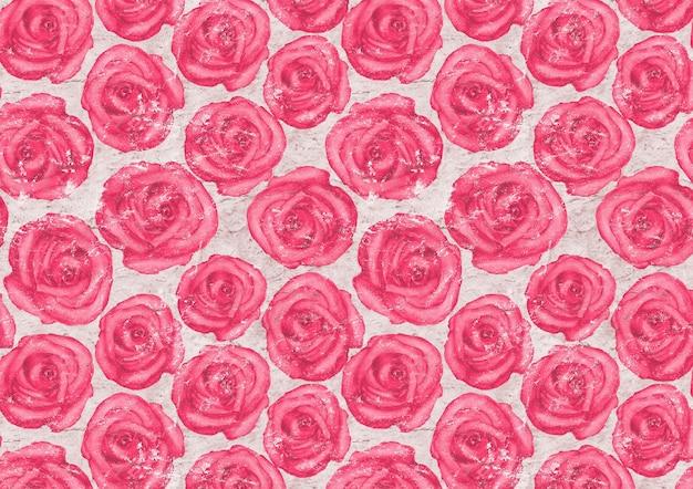 Superfície de papel velha com rosas cor de rosa desenhadas à mão em aquarela