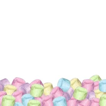 Superfície desenhada à mão em aquarela com marshmallow colorido