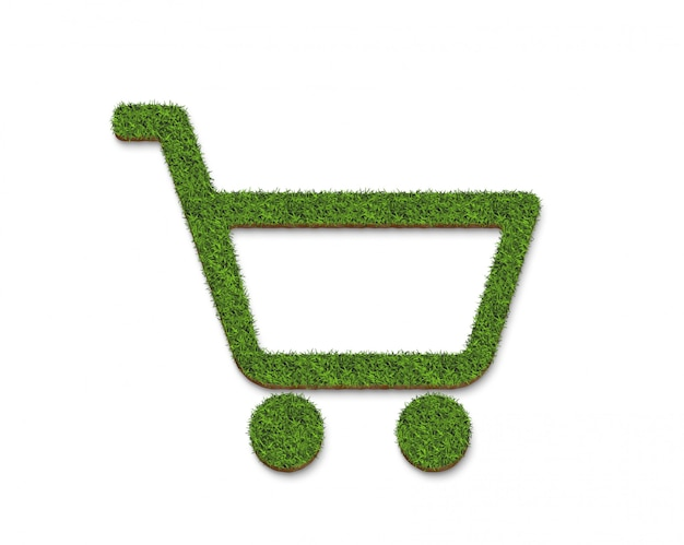 Superfície do carrinho de compras de grama verde, isolada no branco