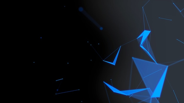 Superfície do plexus digital. conceito de engenharia, formas digitais e científicas de visualizar dados.