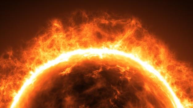 Superfície do sol com erupções solares. resumo científico