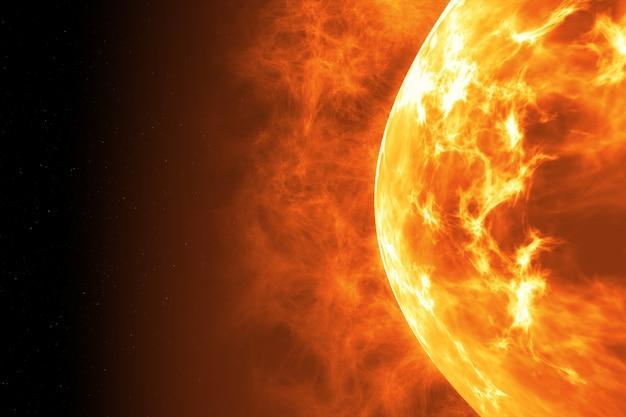 Superfície do sol com erupções solares