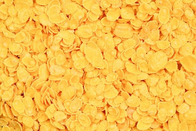 Superfície e textura de flocos de milho