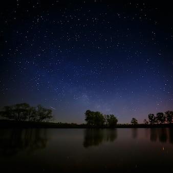 Superfície lisa do lago da floresta em um fundo do céu noturno e da via láctea.