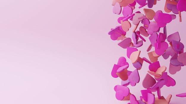 Superfície rosa com forma de coração cor aleatória caindo